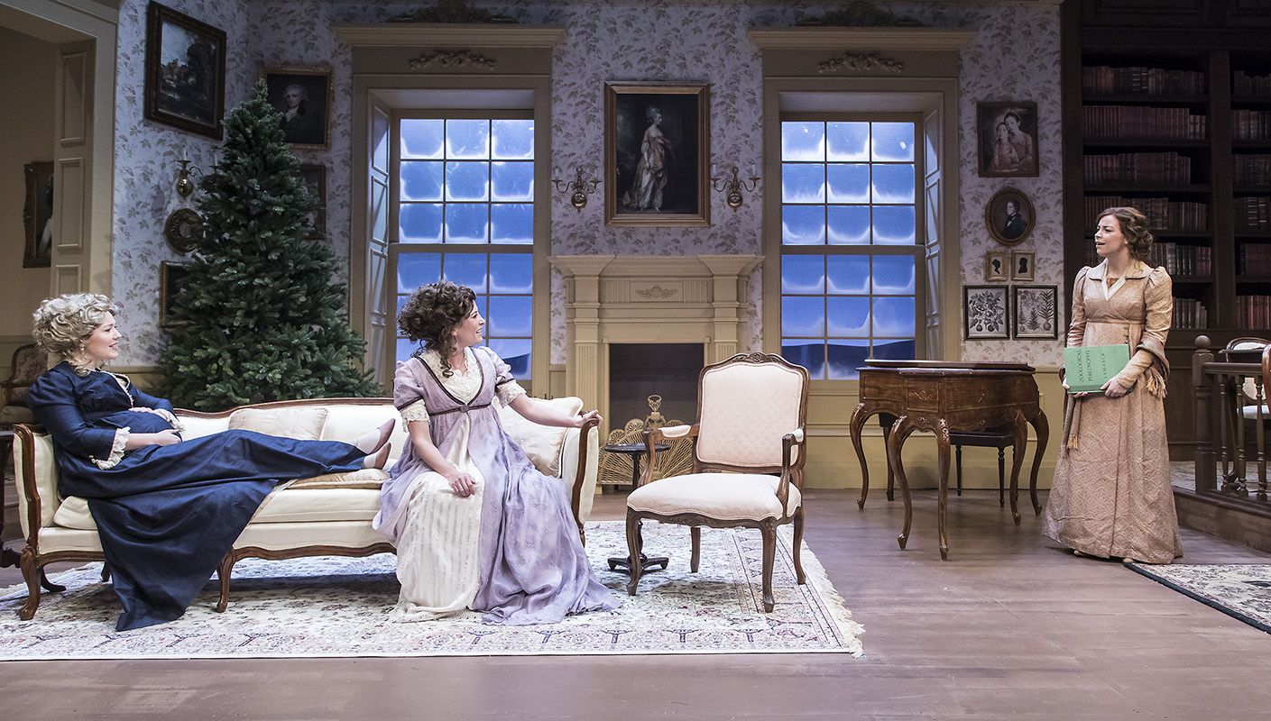"Erin Barnes, Paige Lindsey White, and Donnla Hughes in ""Miss Bennet:Christmas at Pemberley"" at Ensemble Theatre Company.  Photo: David Bazemore"
