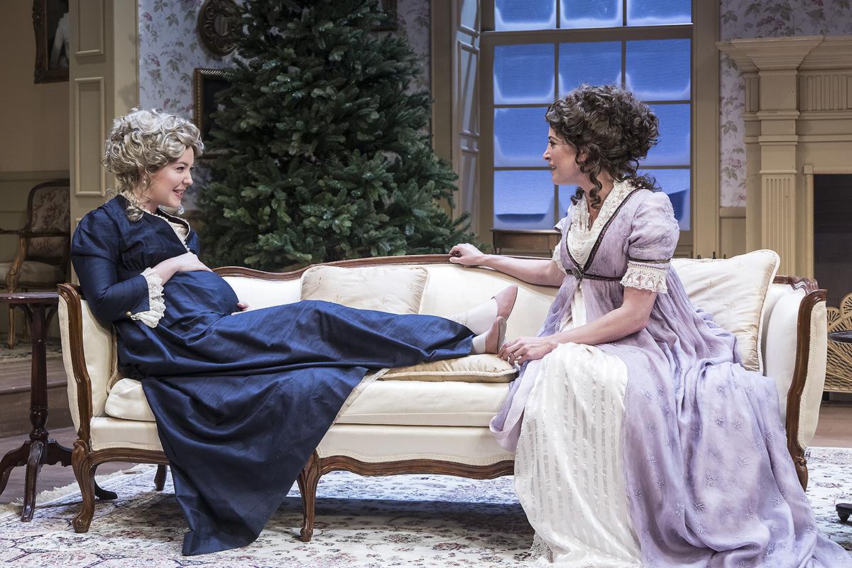 "Erin Barnes & Paige Lindsey White in ""Miss Bennet:Christmas at Pemberley"" at Ensemble Theatre Company.  Photo: David Bazemore"