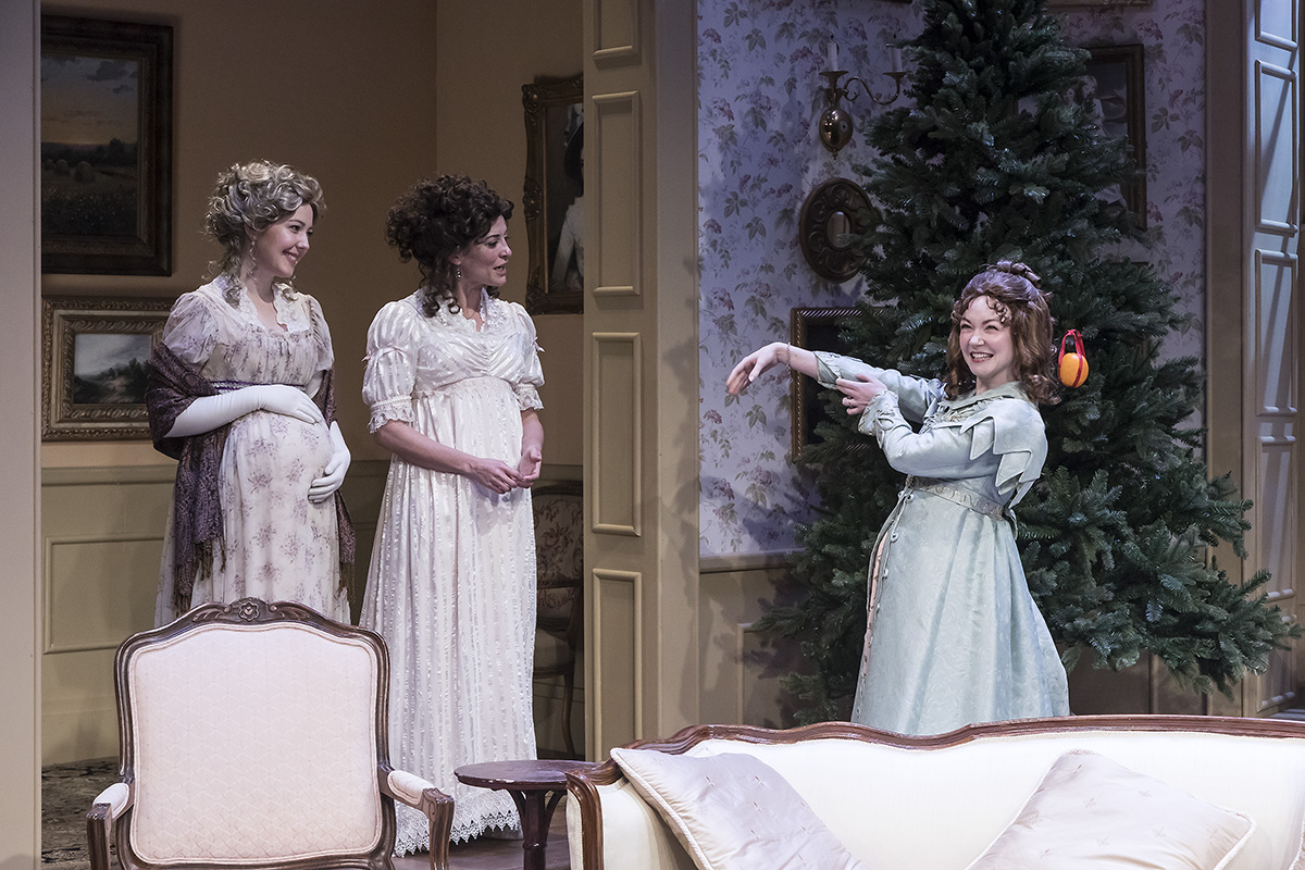 "Erin Barnes, Paige Lindsey White, and Caroline Innerbichler in ""Miss Bennet:Christmas at Pemberley"" at Ensemble Theatre Company.  Photo: David Bazemore"