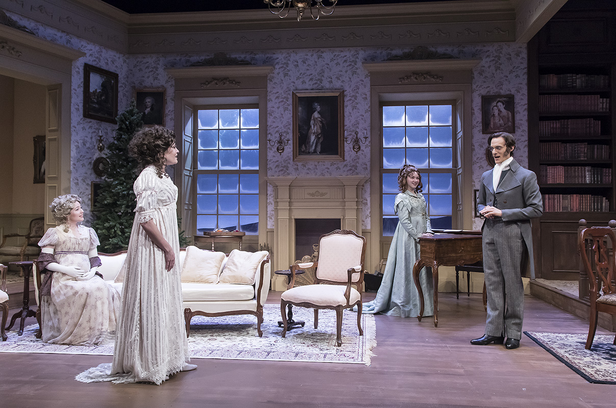 "Erin Barnes, Paige Lindsey White, Caroline Innerbichler, and Paul Culos in ""Miss Bennet:Christmas at Pemberley"" at Ensemble Theatre Company.  Photo: David Bazemore"