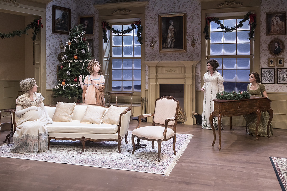 "Erin Barnes, Caroline Innerbichler, Paige Lindsey White, and Donnla Hughes in ""Miss Bennet:Christmas at Pemberley"" at Ensemble Theatre Company.  Photo: David Bazemore"
