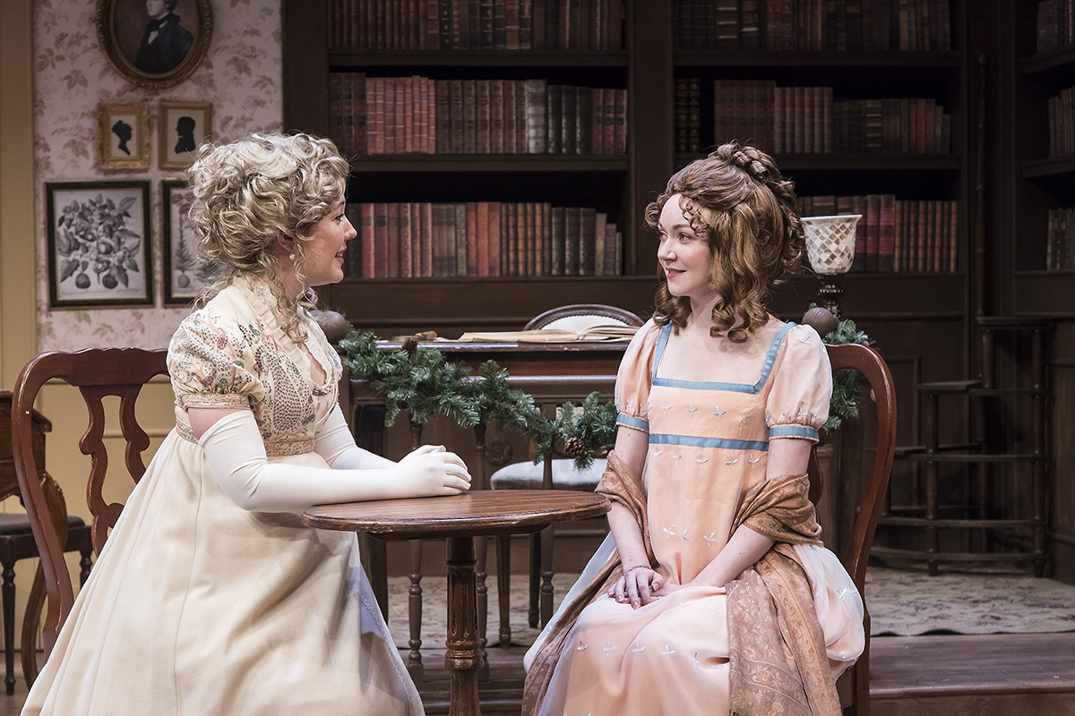 "Erin Barnes & Caroline Innerbichler in ""Miss Bennet:Christmas at Pemberley"" at Ensemble Theatre Company.  Photo: David Bazemore"