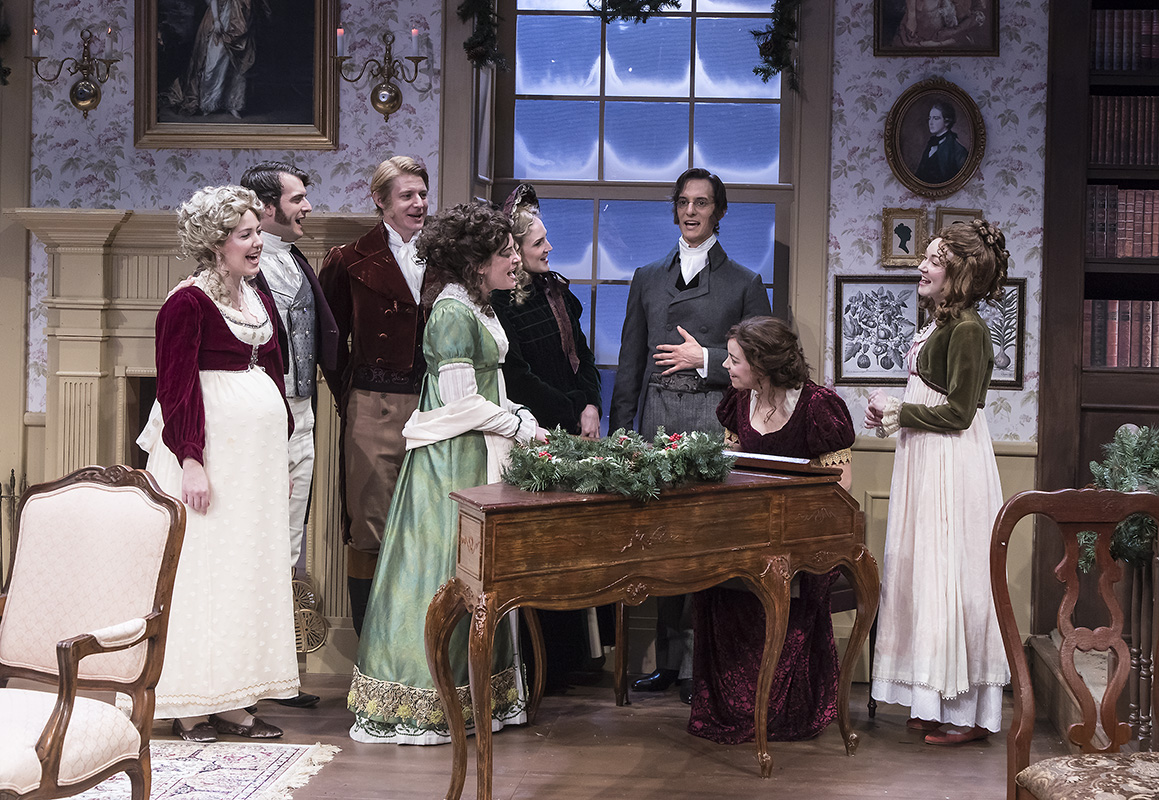 "The Cast of ""Miss Bennet:Christmas at Pemberley"" at Ensemble Theatre Company.  Photo: David Bazemore"