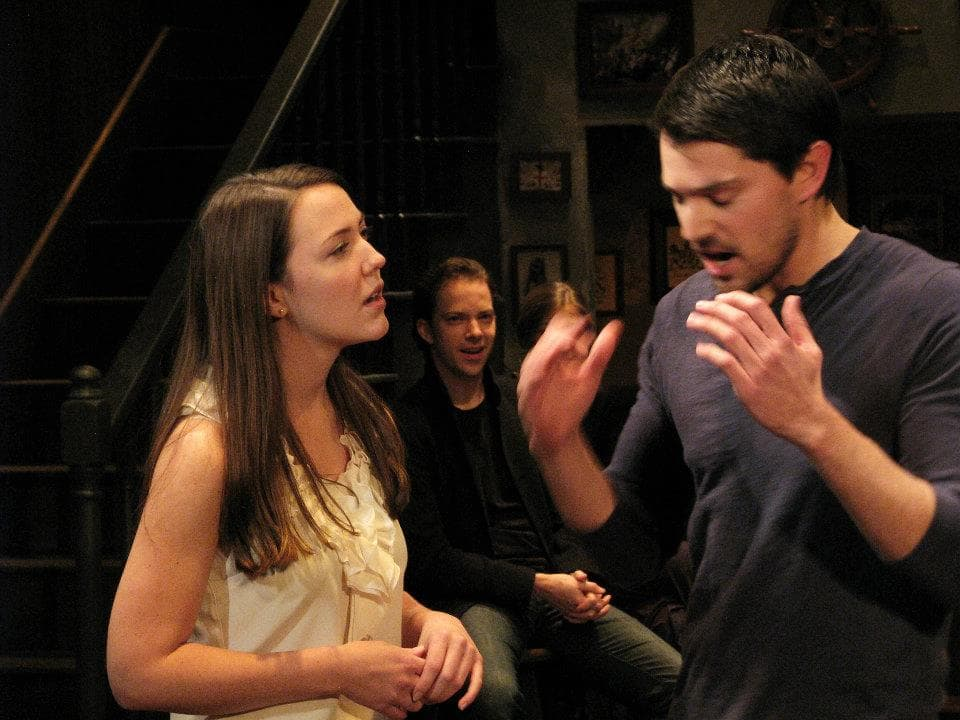 """The Taming of the Shrew"" at The Antaeus Company - Nicholas D'Agosto & Erin Barnes, photo by Geoffrey Wade"