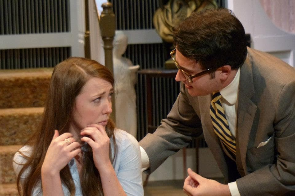 """Crimes of the Heart"" at The Antaeus Company - Erin Barnes & Matthew Bohrer, photo by Geoffrey Wade"